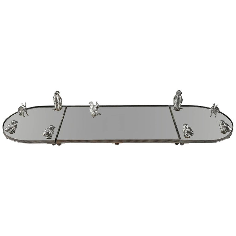 Silver and Mirror Table Centrepiece with Salt and Pepper Cellar by E. Eschwege