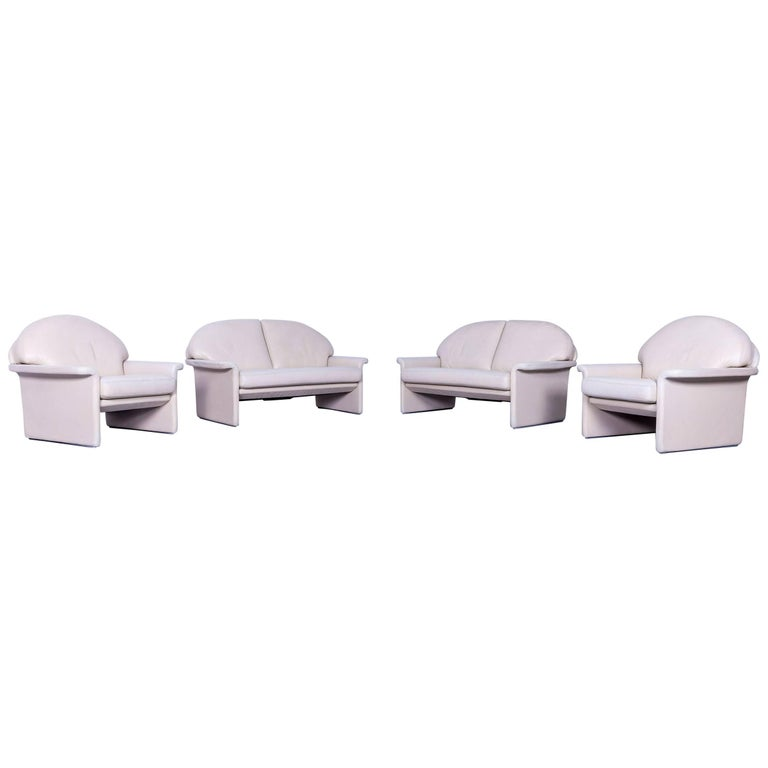 De Sede Leather Sofa Set Off-White Two-Seat and Armchair