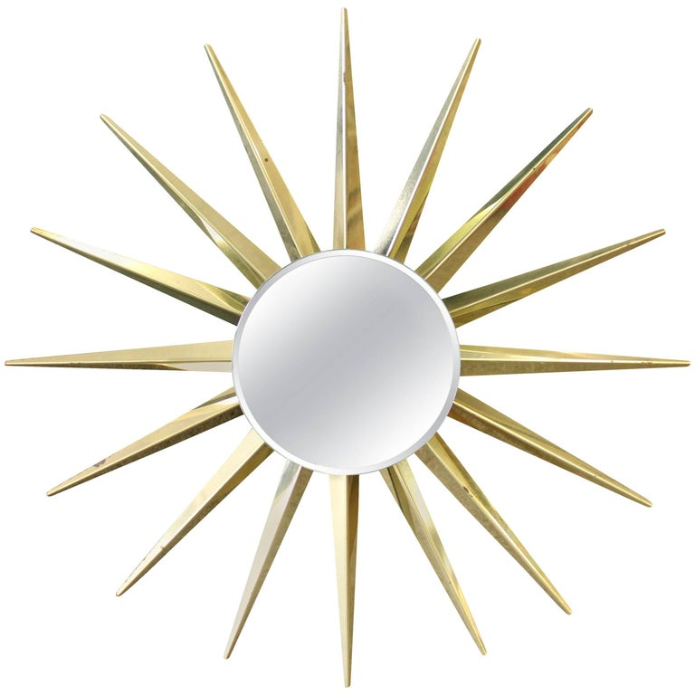 Mid-Century Modern Brass Beveled Sunburst Mirror For Sale