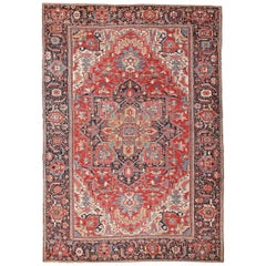 Large Antique Jewel Tone Color Persian Serapi Rug
