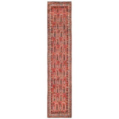 Tribal Long and Narrow Persian Kurdish Paisley Runner Rug