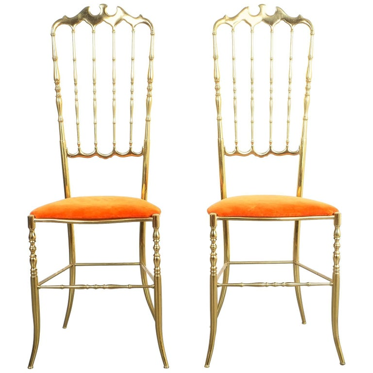 Pair of Polished High Back Brass Chairs by Chiavari, Italy, 1950