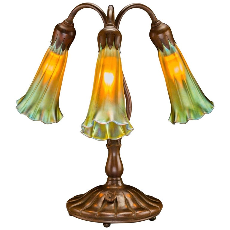 Tiffany Studios Style Three Lily Bronze and Favrile Table Lamp