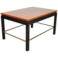 Edward Wormley for Dunbar Walnut, Mahogany and Brass Side Table
