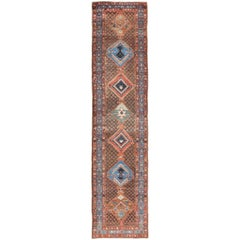 Antique Tribal Persian Heriz Runner Rug