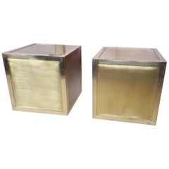 Brass Nightstands or Sode Table, 1970, Italy