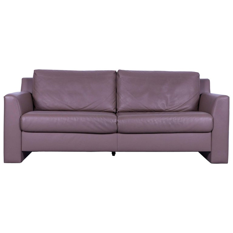 Ewald Schillig Leather Sofa Brown Three-Seat