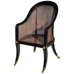 Regency Ebonized Klismos Gillows Bergère Armchair