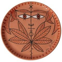 "Jean Cocteau Large Original Edition Ceramic Dish ""Cornefeuilles"", 1962"