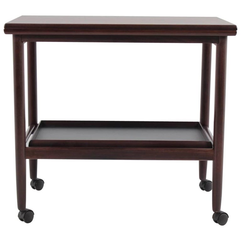 Expandable Mahogany Serving Cart by Børge Mogensen for Fredericia, Denmark For Sale