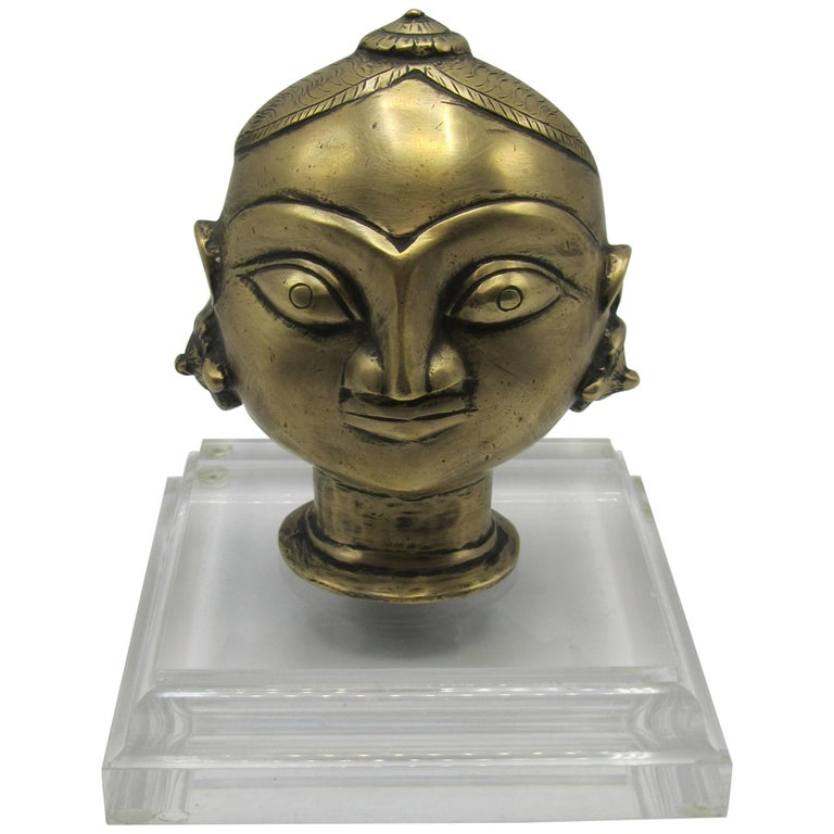 19th Century Indian Bronze Head of Gauri