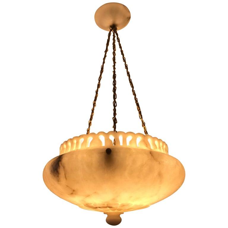 Swedish Art Nouveau Carved Alabaster Pendant Lamp For Sale
