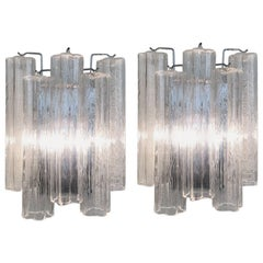 Pair of Italian Tronchi Murano Glass and Chrome Wall Sconces by Venini
