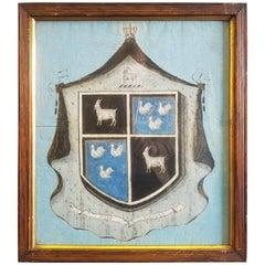 Painted Exotic Coat of Arms on Canvas, Motto- Esto Vigilans, 18th Century