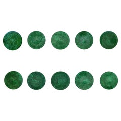 Piero Fornasetti Malachite Set of Porcelain Plates, circa 1960s, Ten Plates