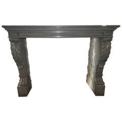 19th Century Solid Limestone Napoleon III Fireplace