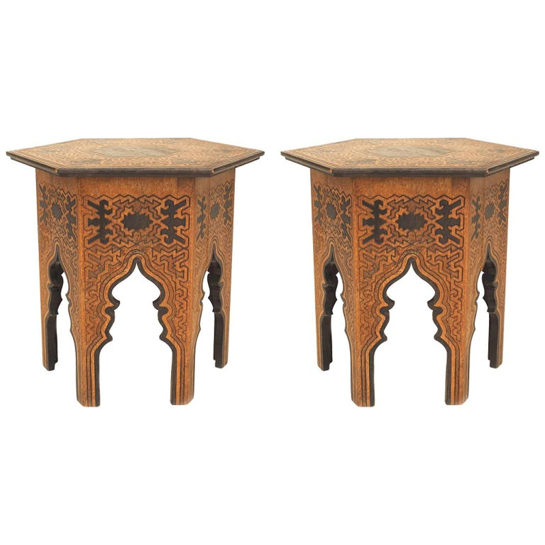 Pair of Middle Eastern Moorish Low Tables 'Taborets'