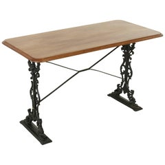 French Paris Cast Iron Bistro Table or Writing Desk with Mahogany Top circa 1900