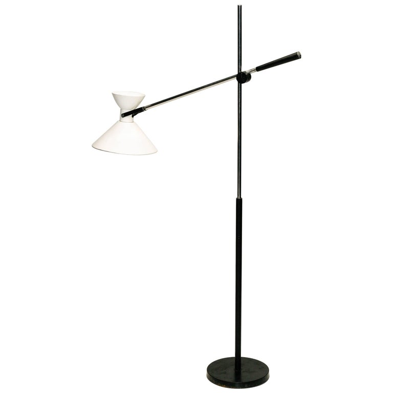 Adjustable Floor Lamp with Diabolo Shaped Shade