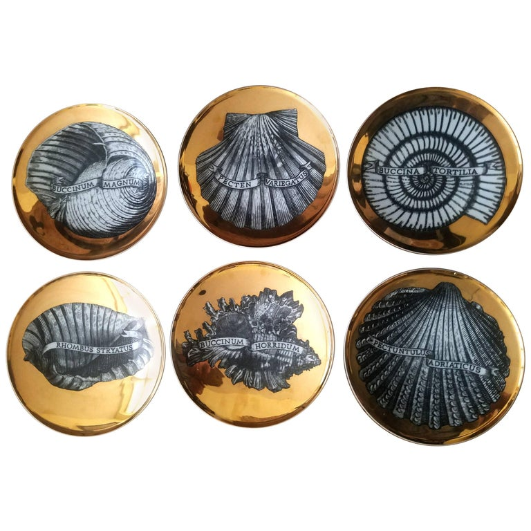 Piero Fornasetti Porcelain Gilt Seashell Plates, Conchyliorum Pattern, 1950s