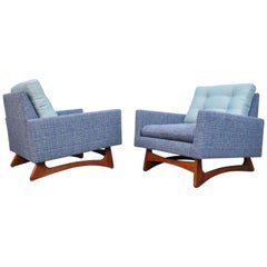 Pair of Adrian Pearsall for Craft Associates Tufted Lounge Chairs