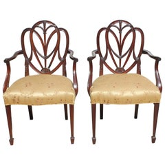 Pair of 19th Century French Solid Mahogany Armchairs