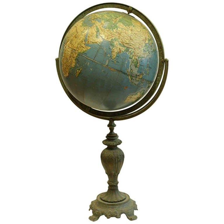 Vintage Grams Terrestrial Globe, circa 1950s