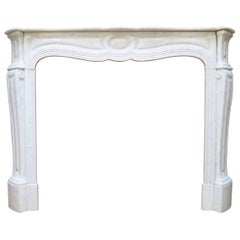 Antique French Pompadour Style Louis XV Fireplace Mantel