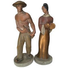 Pair of Midcentury Ceramic Figurines