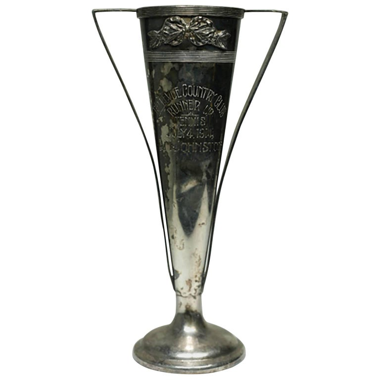 Early 20th Century Silver Plated Tennis Trophy July 4, 1914