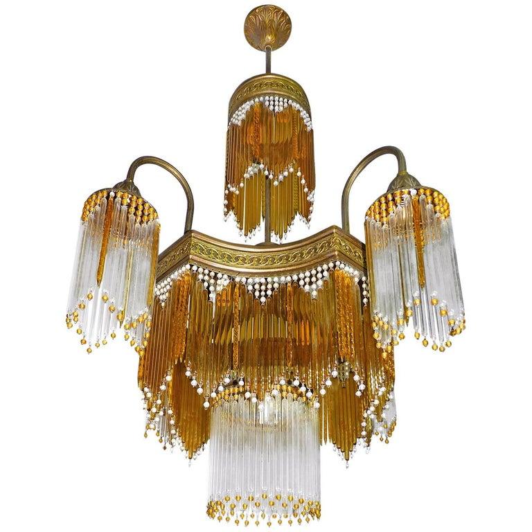 Art Deco/Art Nouveau Beaded Amber/Clear Glass Fringe Hollywood RegencyChandelier