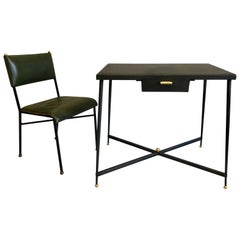 French Midcentury Steel and Brass Desk with Leather Desk Chair by Jacques Adnet