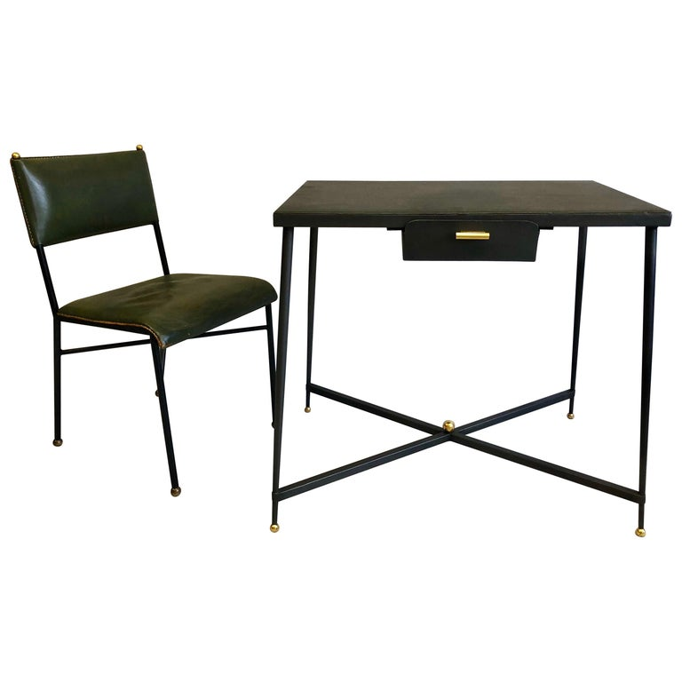 French Midcentury Steel and Brass Desk with Leather Desk Chair by Jacques Adnet For Sale