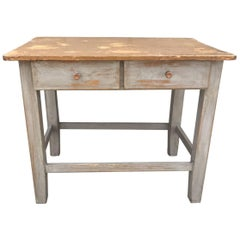 Vintage French Antique Table, Painted, Shabby
