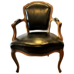 Louis XV Style Walnut Fauteuil / Arm or Office Chair Black Leather Upholstery