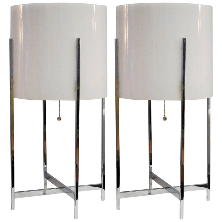 Pair of Paul Mayen for Habitat Chrome and Lucite Table Lamps, 1970s