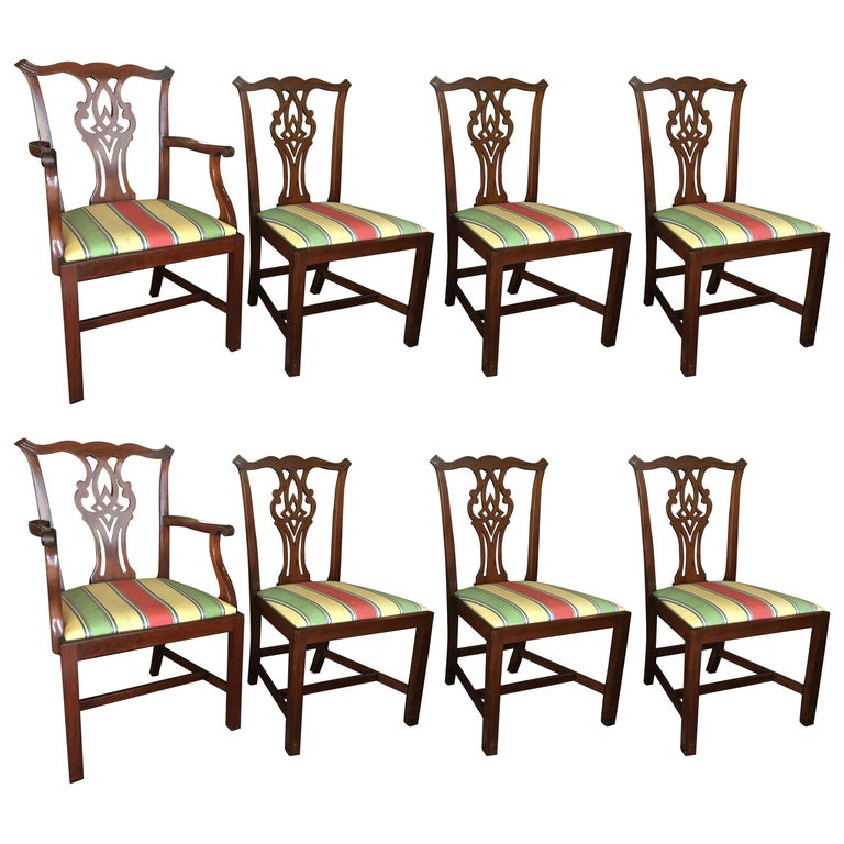 English Set of Eight Chippendale Style Mahogany Dining Room Chairs, circa 1870