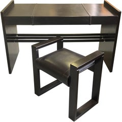 French Mid-Century Modern Stitched Black Leather Desk and Chair by Jacques Adnet