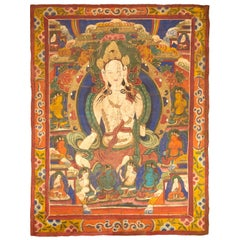 Large 19th Century Tibetan Thangka of White Tara