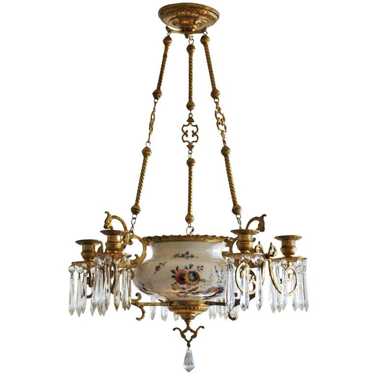 19th Century French Doré Bronze and Faience Candle Chandelier, Choisy-le-Roy
