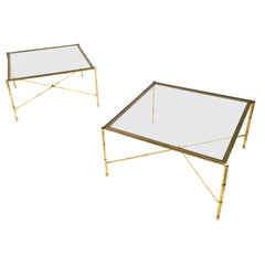 Pair of Brass Coffee Tables with a Sandblasted Glass Top, Italy, 1960s
