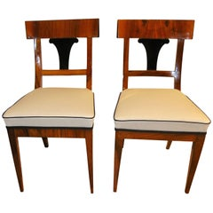Pair of Biedermeier Chairs, Walnut Veneer, South Germany, circa 1820