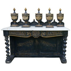 Set of 18th Century Sicilian Apothecary's Jars and Pharmacy Counter