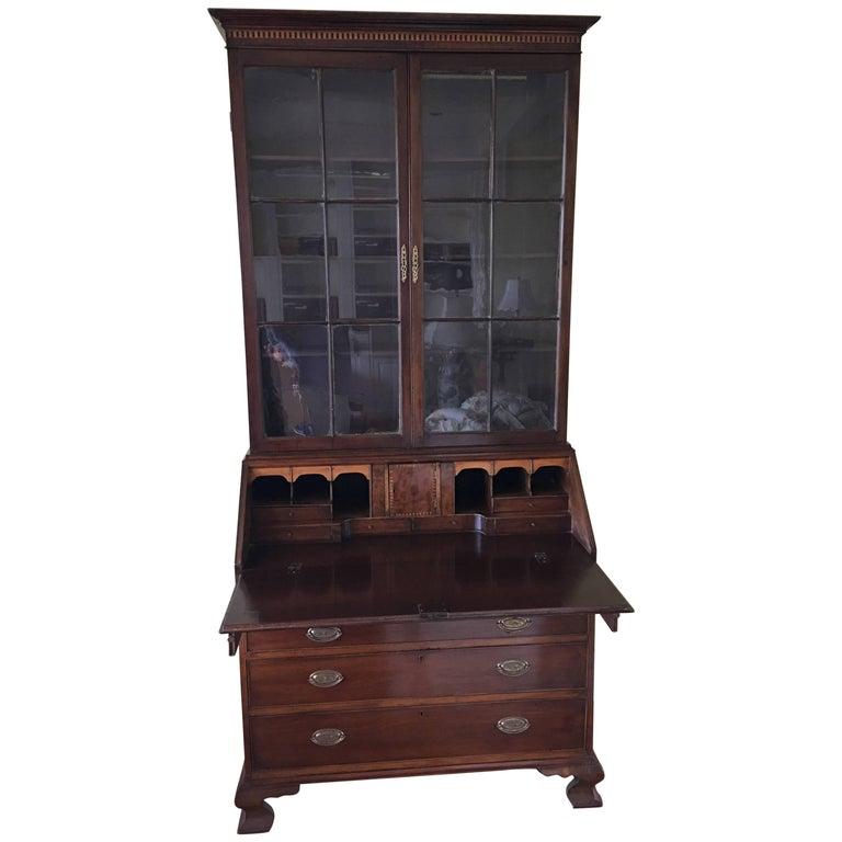 English Mahogany Secretary Bookcase with Glass Doors, 19th Century