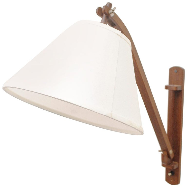 Midcentury Teak Wall Lamp with White Shade For Sale