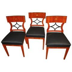 Three Biedermeier Chairs, Cherry Veneer/Birch Roots, South Germany circa 1900