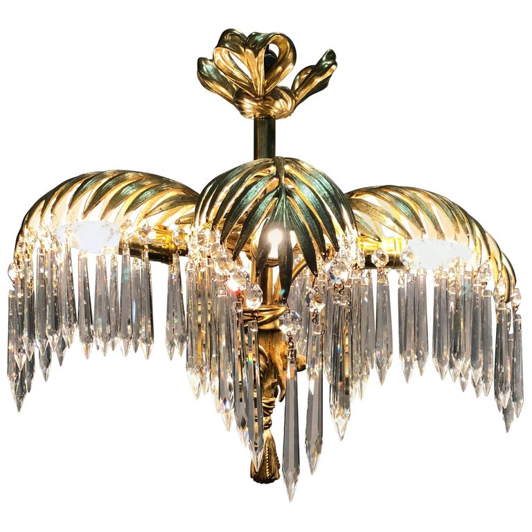 French Dore Bronze and Crystal Maison Jansen Palm Chandelier