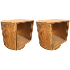 Pair of Gabriella Crespi Style Split Reed Rattan Bamboo Night Stands or Tables