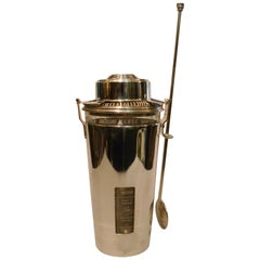 """Art Deco Spanish Writing Cocktail Shaker """"the Barman"""" by Ghiso, France"""