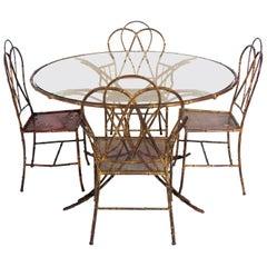 Elegant Gilt Metal Faux Bamboo Dining Set
